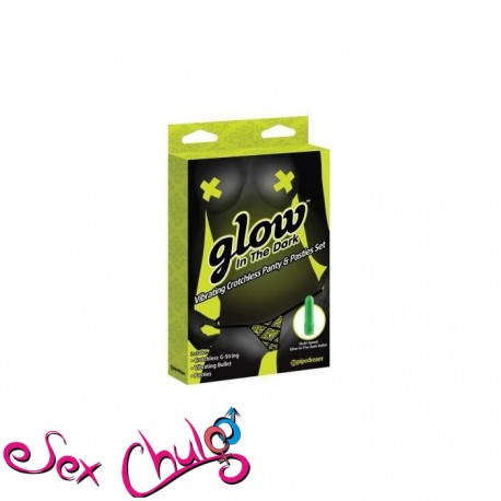 Glow in the dark vibrating crotchless panty and pasties set