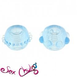 Anelli per pene POWER STRETCHY RINGS BLUE 2PCS''