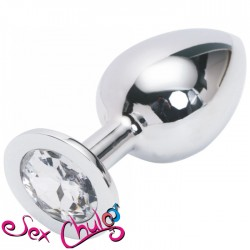 PLUG ANALE CON DIAMANTE LARGE COLOR ARGENTO